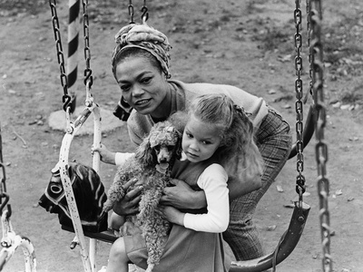 Eartha Kitt and Daughter - 1965 Stretched Canvas Print