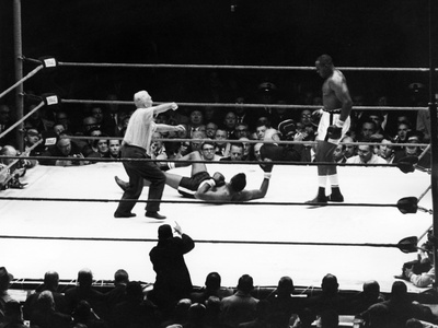 Sonny Liston and Floyd Patterson - 1962 Stretched Canvas Print