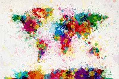 World Map Paint Splashes Stretched Canvas Print