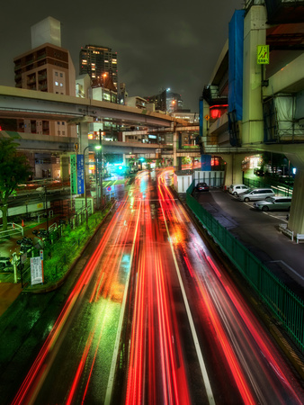 Zipping Through Tokyo Stretched Canvas Print