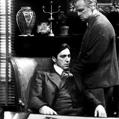 The Godfather, Al Pacino, Marlon Brando, 1972 Stretched Canvas Print