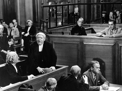 Witness For The Prosecution, John Williams, Charles Laughton, Henry Daniell, Tyrone Power, 1957 Stretched Canvas Print