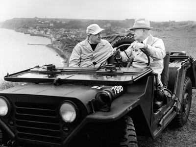 Former President Eisenhower with Walter Cronkite Above Normandy's Beaches Stretched Canvas Print
