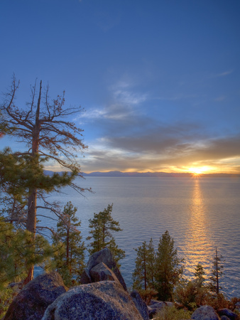 Sunset at Logan Shoals on the East Side of Lake Tahoe, Nevada, USA Stretched Canvas Print
