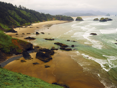 Crescent Beach from Ecola State Park, Oregon, USA Stretched Canvas Print