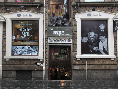 Beatles Shop, Mathew Street, Liverpool, Merseyside, England, United Kingdom, Europe Stretched Canvas Print