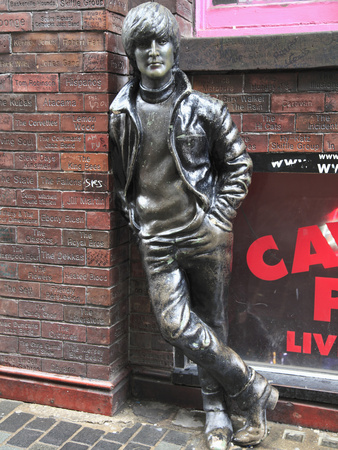 John Lennon Sculpture, Mathew Street, Liverpool, Merseyside, England, United Kingdom, Europe Stretched Canvas Print