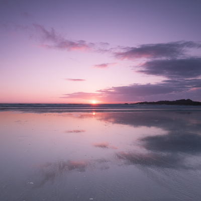 Sunset Reflected in Wet Sand and Sea on Crackington Haven Beach, Cornwall, England, UK, Europe Stretched Canvas Print
