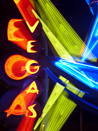 Neon Vegas Sign at Night, Downtown, Freemont East Area, Las Vegas, Nevada, USA, North America Stretched Canvas Print