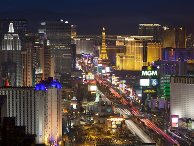 Elevated View of the Hotels and Casinos Along the Strip at Dusk, Las Vegas, Nevada, USA Stretched Canvas Print