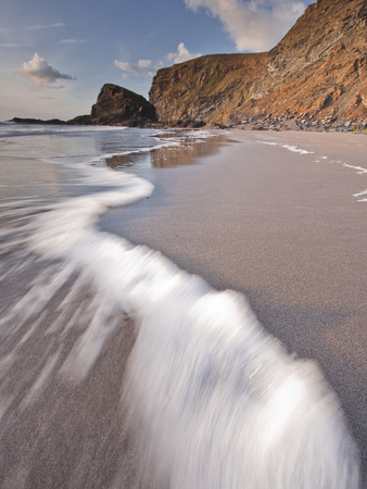 The Strangles Beach on the North Cornwall Coastline at Sunset, Cornwall, England, UK, Europe Stretched Canvas Print