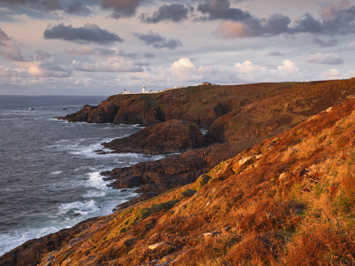 Looking Towards Pendeen Lighthouse and Watch on the Cornish Coastline, Cornwall, England, UK Stretched Canvas Print