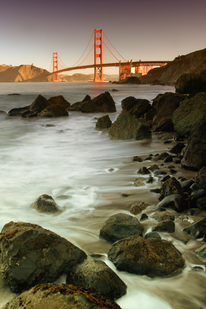 Baker Beach and the Golden Gate Bridge Stretched Canvas Print