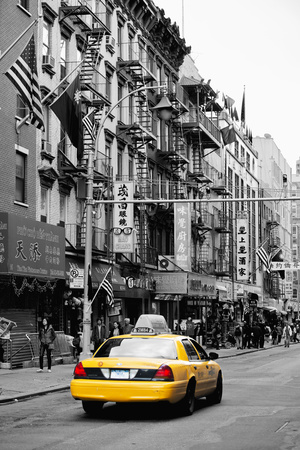 Taxi Cabs - Chinatown - Yellow Cabs - Manhattan - New York City - United States Stretched Canvas Print