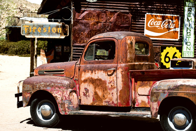 Truck - Route 66 - Gas Station - Arizona - United States Stretched Canvas Print