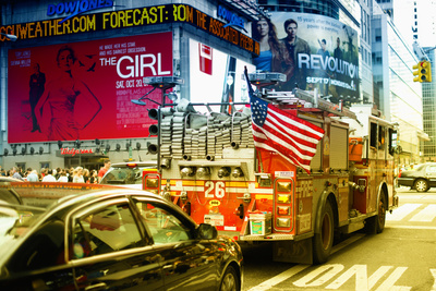 Fire truck - Times Square - Manhattan - New York City - United States Stretched Canvas Print