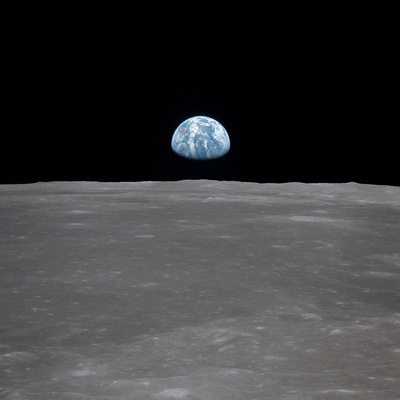 Apollo 11 Earth Rise over the Moon, July 20, 1969 Stretched Canvas Print