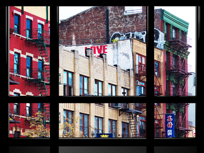 Window View, Special Series, Building China Town, Manhattan, New York City, United States Stretched Canvas Print