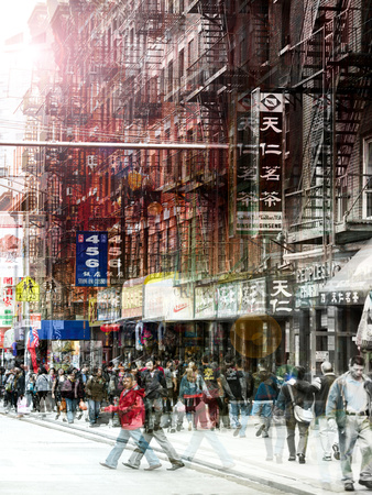 Urban Vibrations Series, Fine Art, Urban Style, Chinatown, New York City, United States Stretched Canvas Print