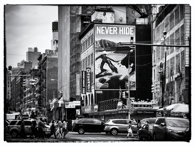 Urban Scene, Chinatown, Manhattan, New York, United States, Black and White Photography Stretched Canvas Print