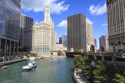 Chicago River Walk Follows the Riverside Along East Wacker Drive Stretched Canvas Print