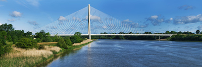 Cable Stayed Bridge across a River, River Suir, Waterford, County Waterford, Republic of Ireland Stretched Canvas Print