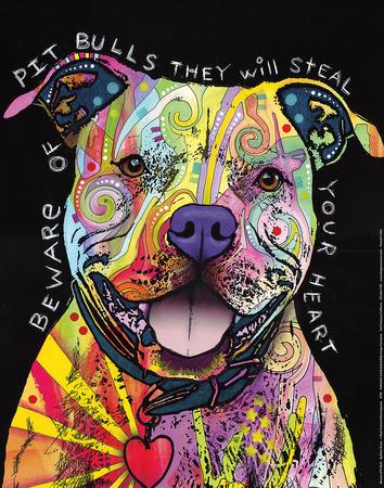 Beware of Pit Bulls Dean Russo Art Print