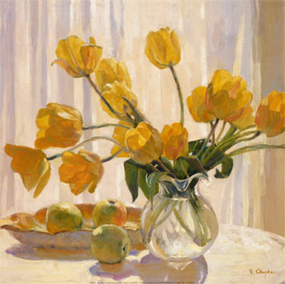 Les FLEURS  dans  L'ART Valeri-chuikov-yellow-tulips-and-apples