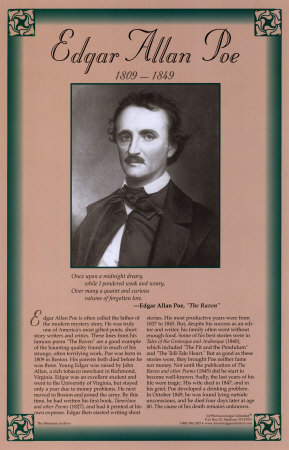 biography of edgar allan poe an american author poet editor and literary critic Edgar allan poe was one of the most important and influential american writers of the 19th century he was the first author to try to make a professional living as a writer much of poe's work was inspired by the events that happened around him his poetry alone would ensure his spot in the literary.