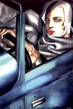 Autoportrait illustration art déco œuvre par Tamara de Lempicka