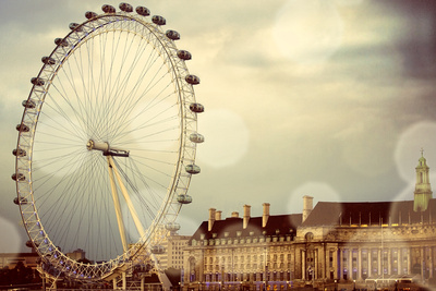 London Ferris Wheel Stretched Canvas Print