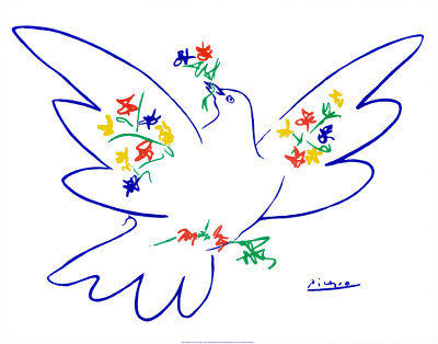 Dove of Peace Print zoom view in room