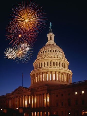 Fireworks over U.S. Capitol Stretched Canvas Print