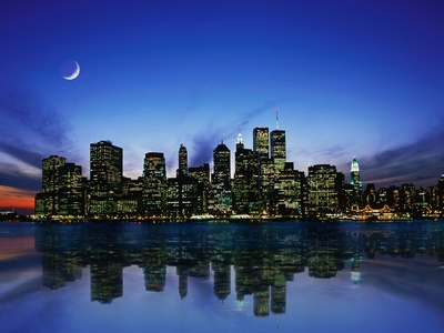 Manhattan Skyline and Reflection Stretched Canvas Print