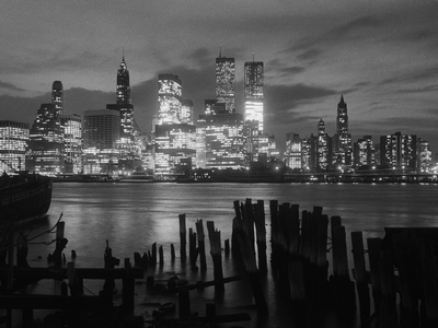 View of Manhattan Skyline from Brooklyn Stretched Canvas Print