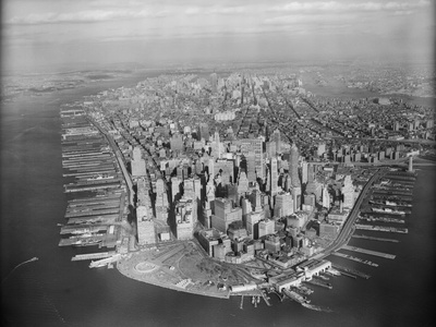 Aerial View of Manhattan Stretched Canvas Print