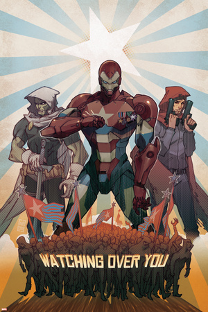 Avengers: The Initiative No.26 Cover: Iron Patriot, Task Master and The Hood Fighting Stretched Canvas Print