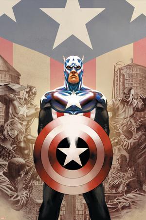 Captain America No.45 Cover: Captain America Stretched Canvas Print