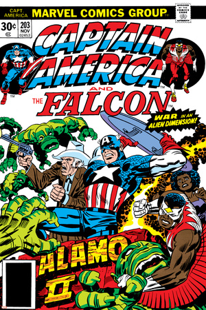 Captain America And The Falcon No.203 Cover: Captain America, Falcon, Marvel Comics and Thor Stretched Canvas Print