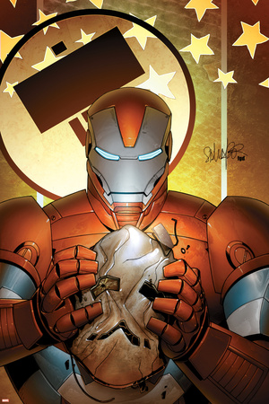 Invincible Iron Man No.19 Cover: Iron Patriot Stretched Canvas Print