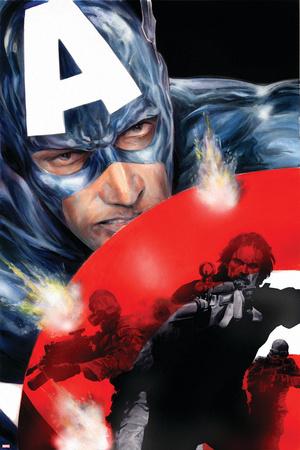 Captain America No.37 Cover: Captain America Stretched Canvas Print