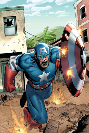 Marvel Adventures Super Heroes No.8 Cover: Captain America Stretched Canvas Print