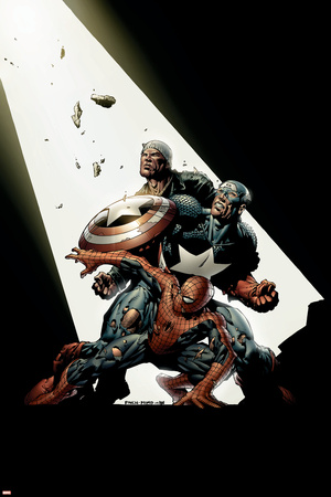 The New Avengers No.2 Cover: Spider-Man, Captain America, Luke Cage Stretched Canvas Print