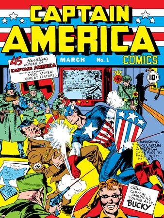 Captain America Comics No.1 Cover: Captain America, Hitler and Adolf Stretched Canvas Print