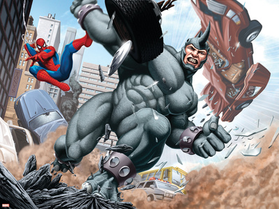 Spider-Man and Rhino Fighting - Battle Scene Stretched Canvas Print