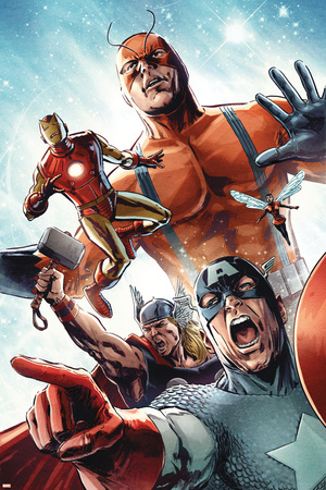 Avengers vs. Atlas No.2 Group: Captain America, Thor, Iron Man, Wasp and Giant Man Stretched Canvas Print