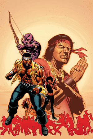 House Of M: Avengers No.2 Cover: Cage, Luke, Hawkeye and Shang-Chi Swinging Stretched Canvas Print