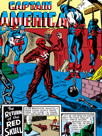 Captain America Comics #3 Cover: Captain America, Bucky and Red Skull Stretched Canvas Print