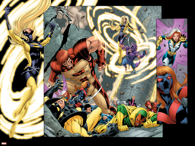 Avengers Thunderbolts No.5 Group: Atlas, Moonstone, Hawkeye, Songbird, Thunderbolts and Avengers Stretched Canvas Print
