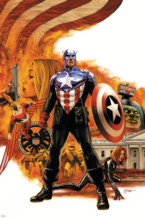 Captain America No.41 Cover: Captain America Charging Stretched Canvas Print